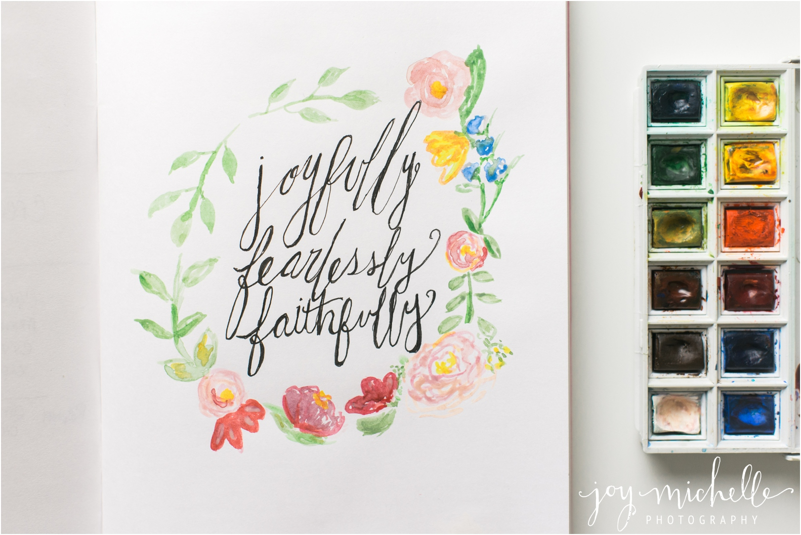 watercolor flowers and calligraphy
