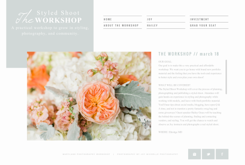 The styled Shoot workshop by Joy Michelle Photography